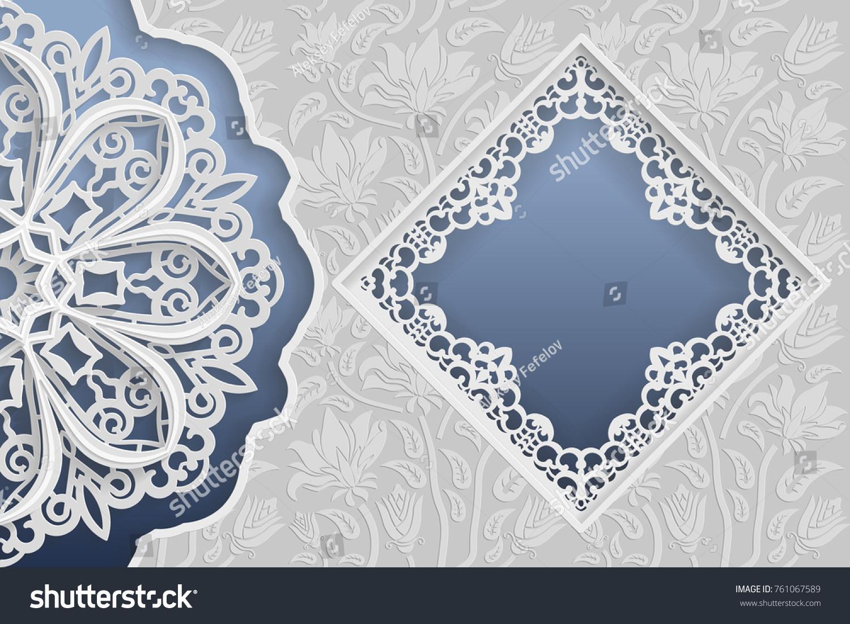 Template Wedding Greetings Invitations 3d Mandala Stock Vector ...