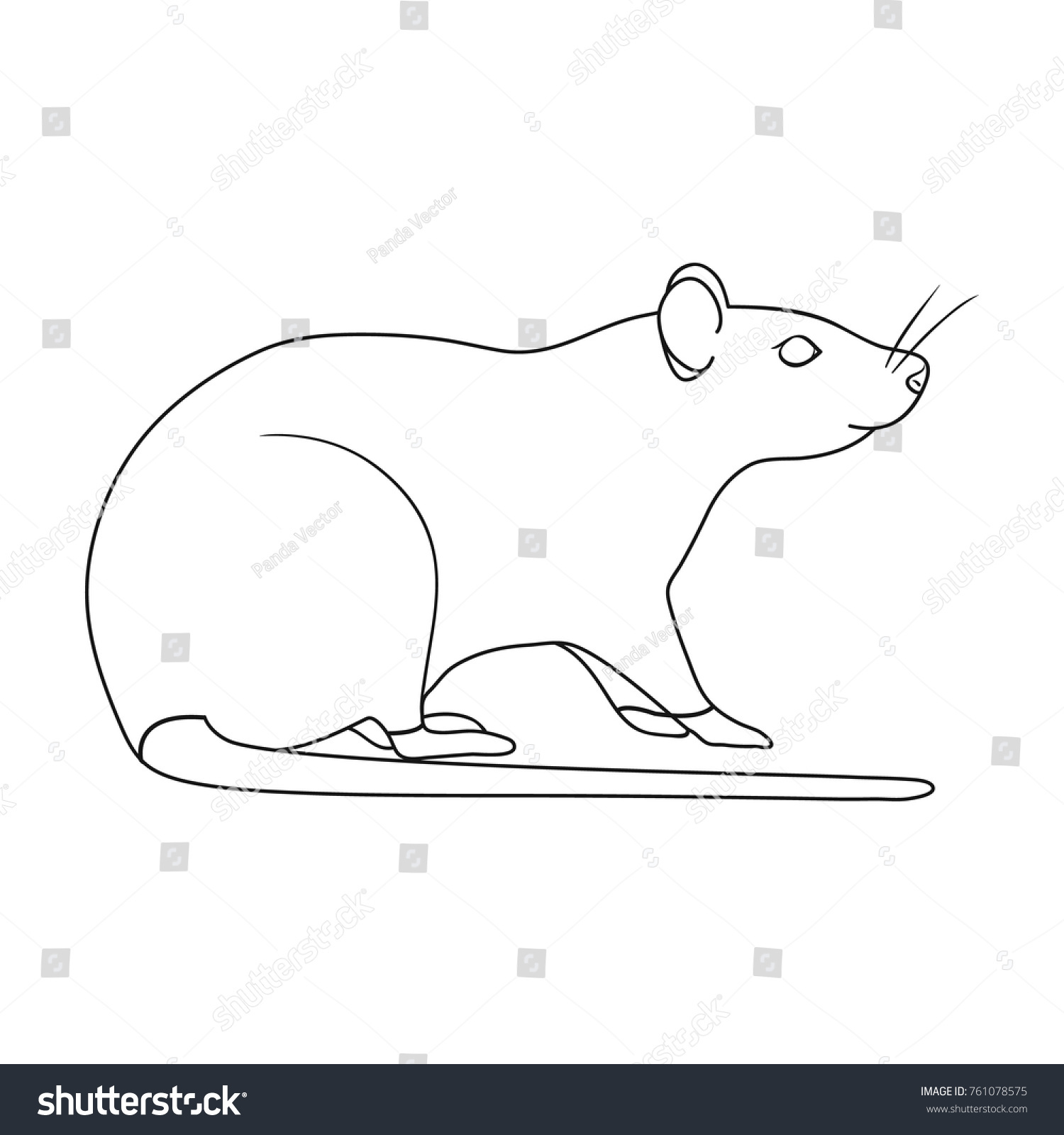 rodent rat single icon in outline style for designpest control service vector symbol stock