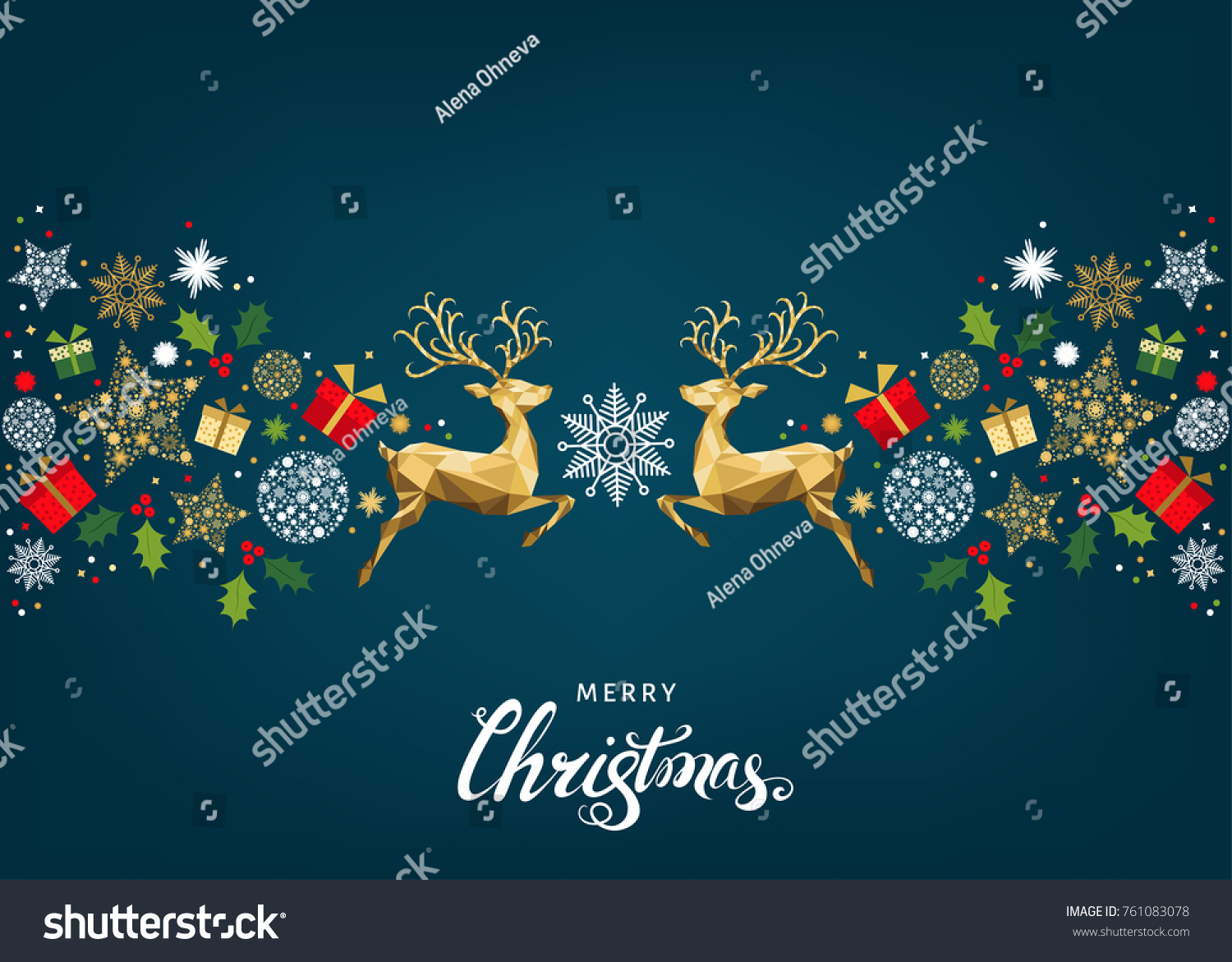 Christmas pattern with lettering and gold Xmas deer and  snowflakes.  Tree decoration. Happy New Year blue background.  Vector colorful  template  for greeting  card. #761083078
