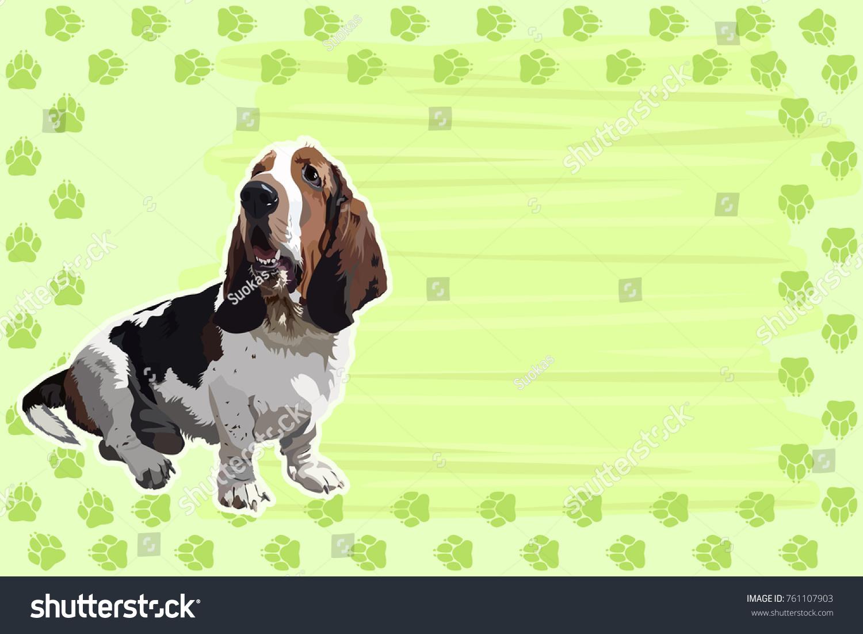 Template Card Calendar Frame Tracks Dog Stock Vector Royalty Free