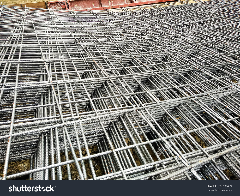 Wire Mesh Steel Reinforcement Concrete Stock Photo (Edit Now