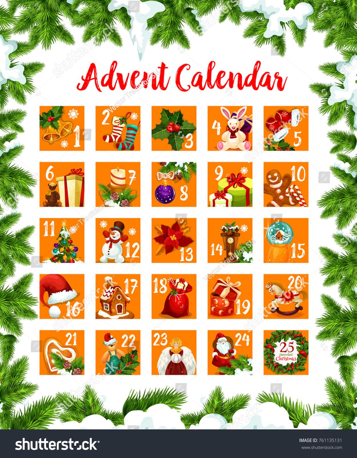 Christmas advent month calendar december days stock vector christmas advent month calendar of december days till 25 eve vector design of christmas season buycottarizona Image collections