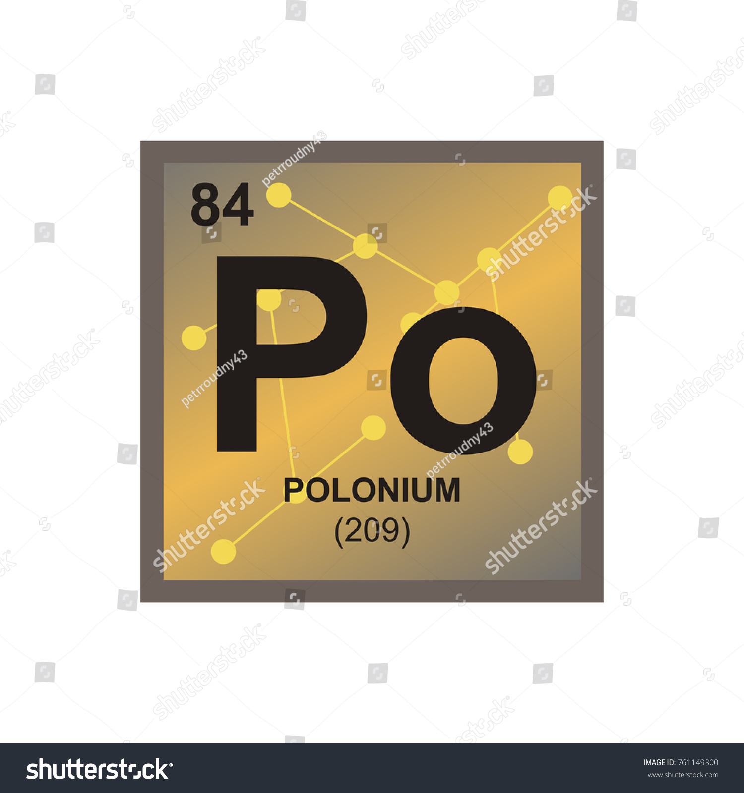 Vector symbol polonium periodic table elements stock vector vector symbol of polonium from the periodic table of the elements on the background from connected gamestrikefo Choice Image