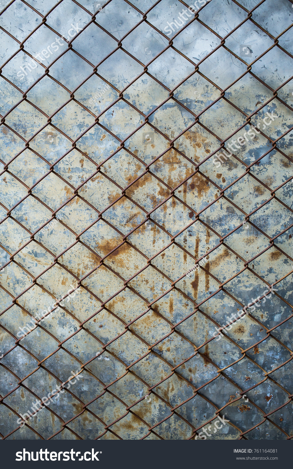 rusty wire fence with cement wall grunge background | EZ Canvas