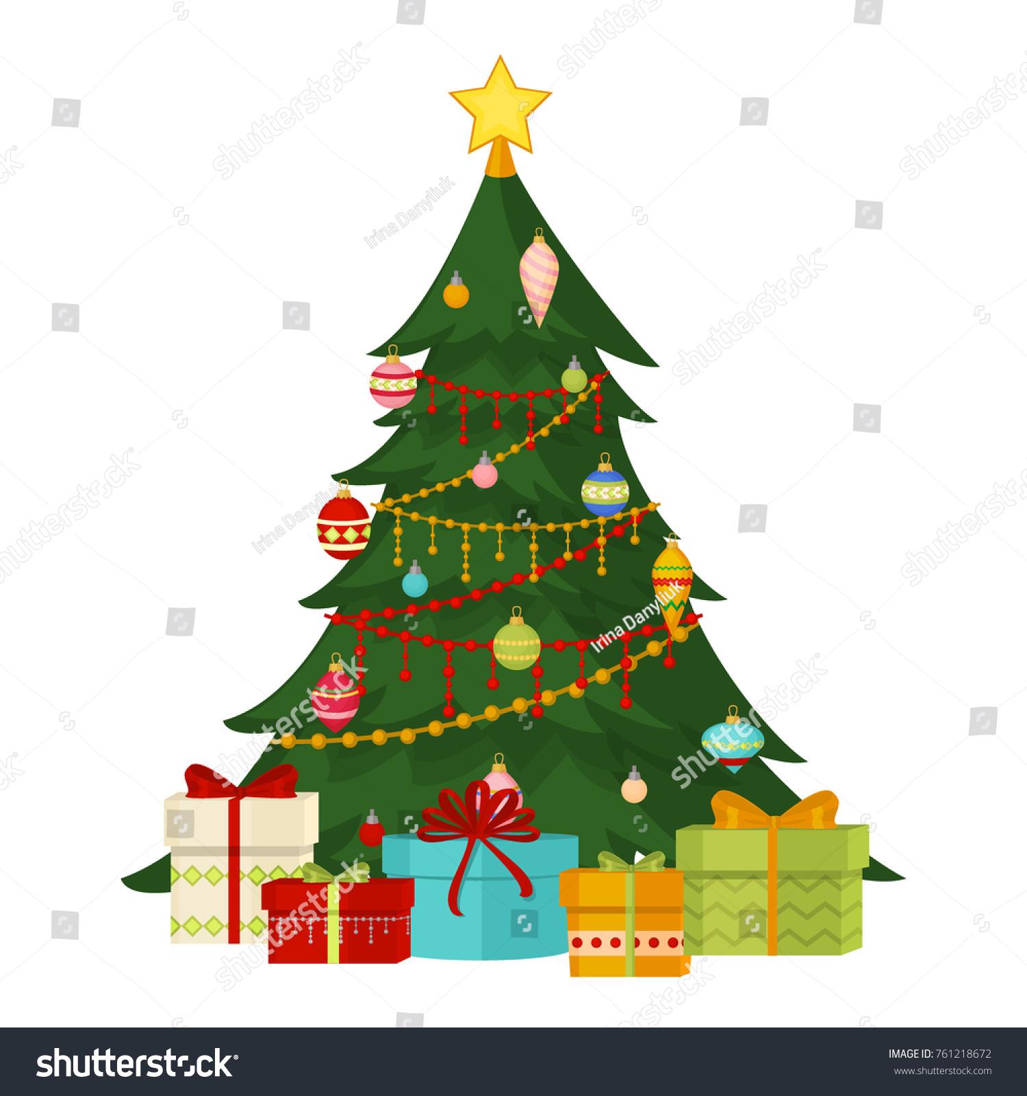 Christmas Tree Fir Gifts Balls Lights Stock Vector Royalty Free