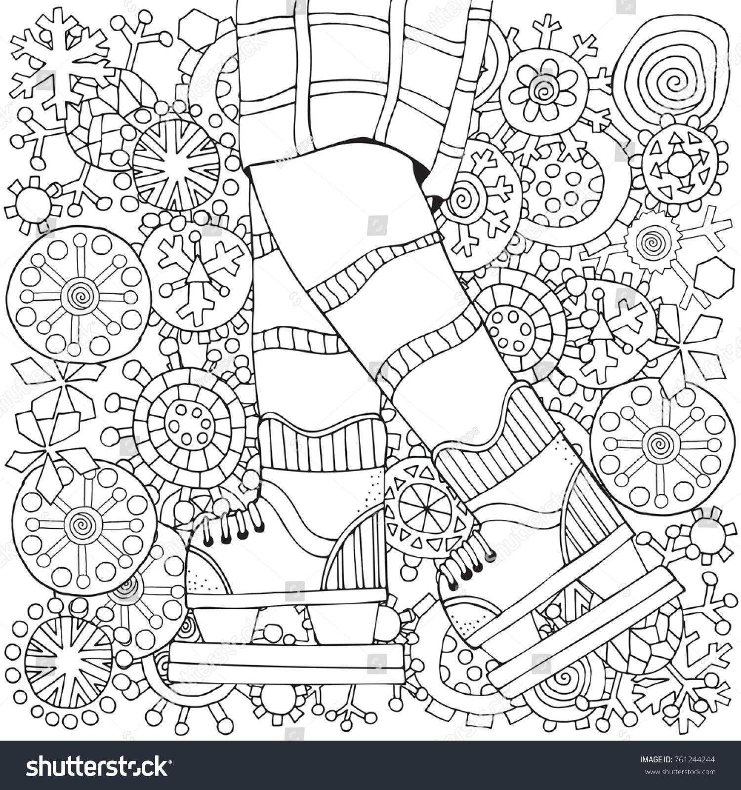 winter boy on skates winter snowflakes stock vector 761244244