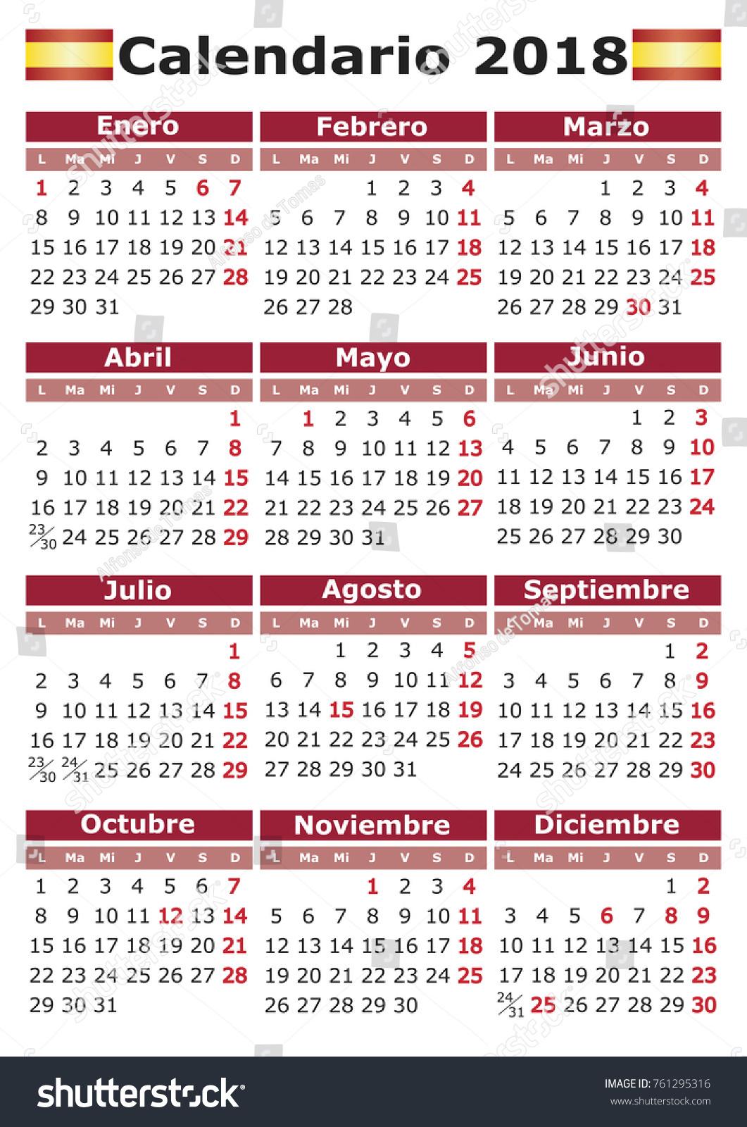 Calendario 2o18.Calendario 2018 Vertical Spanish Calendar Festive Stock