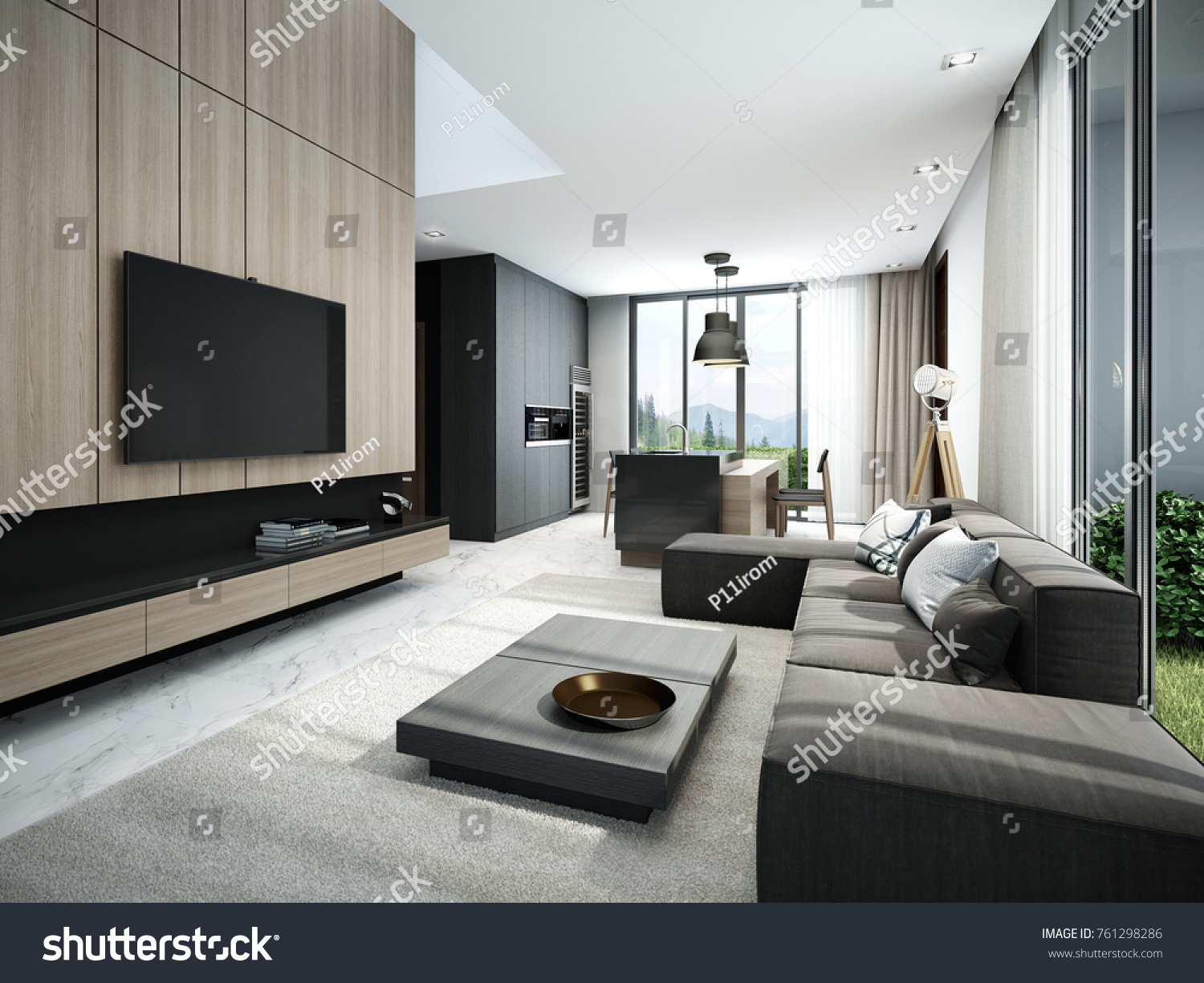 Modern Living Room Kitchen 3d Render Stock Illustration 761298286 ...