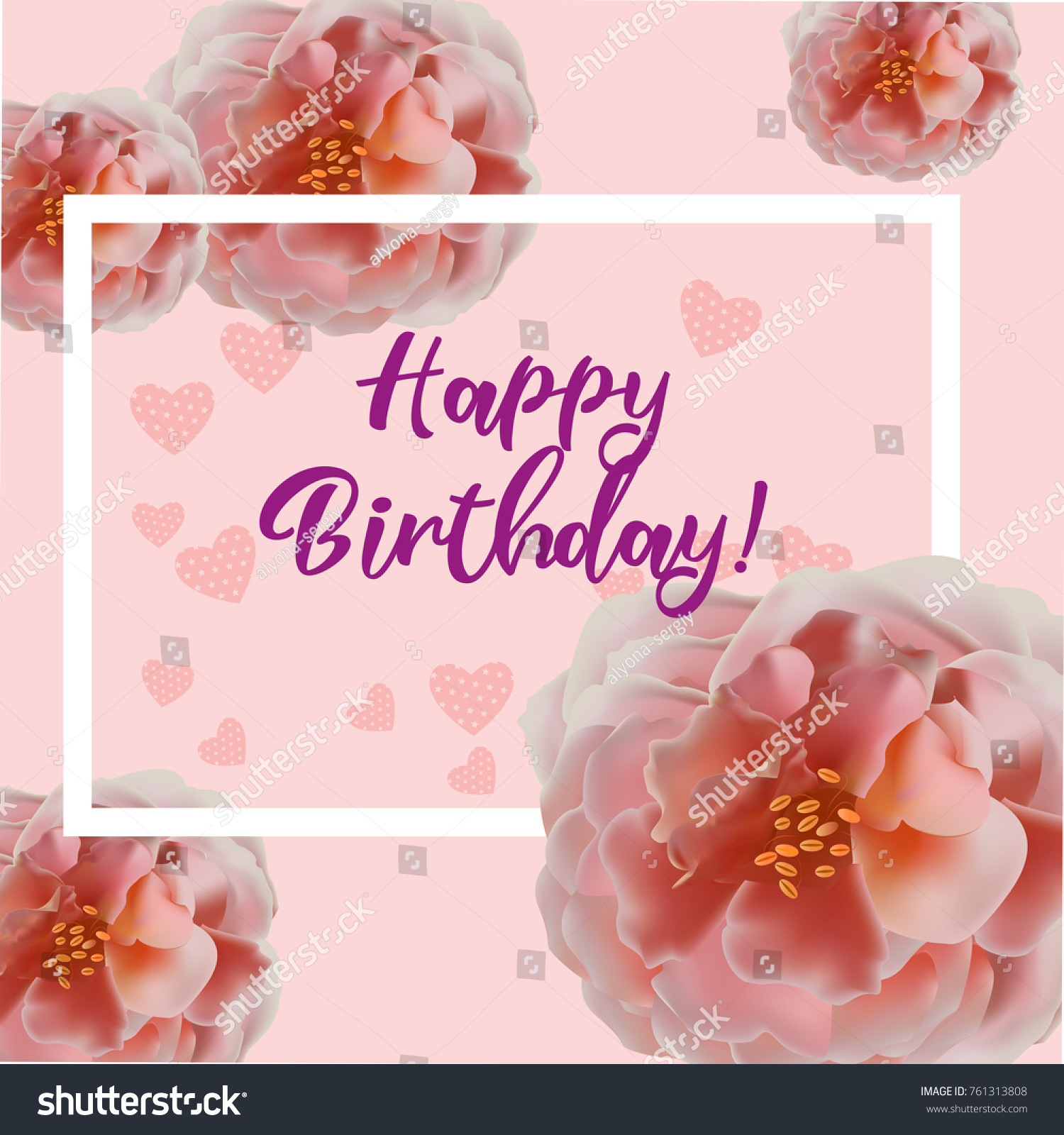 Happy birthday flowers blossom greeting card stock vector 761313808 happy birthday flowers blossom greeting card template calligraphic happy holiday text holiday border izmirmasajfo