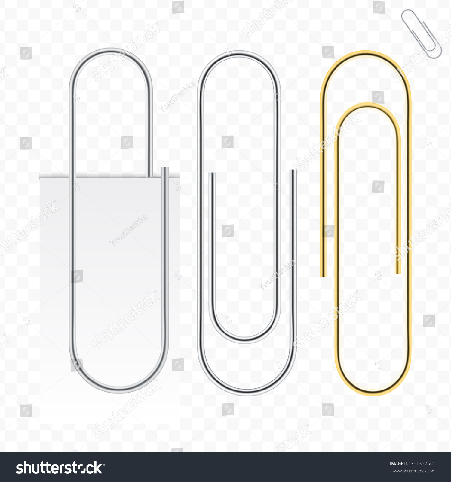 metal paper clip isolated on transparent stock vector (royalty free
