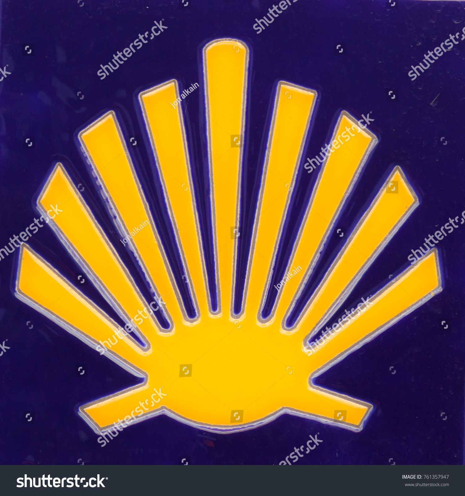 Yellow Scallop Shell Symbol Christian Pilgrimage Stock Photo