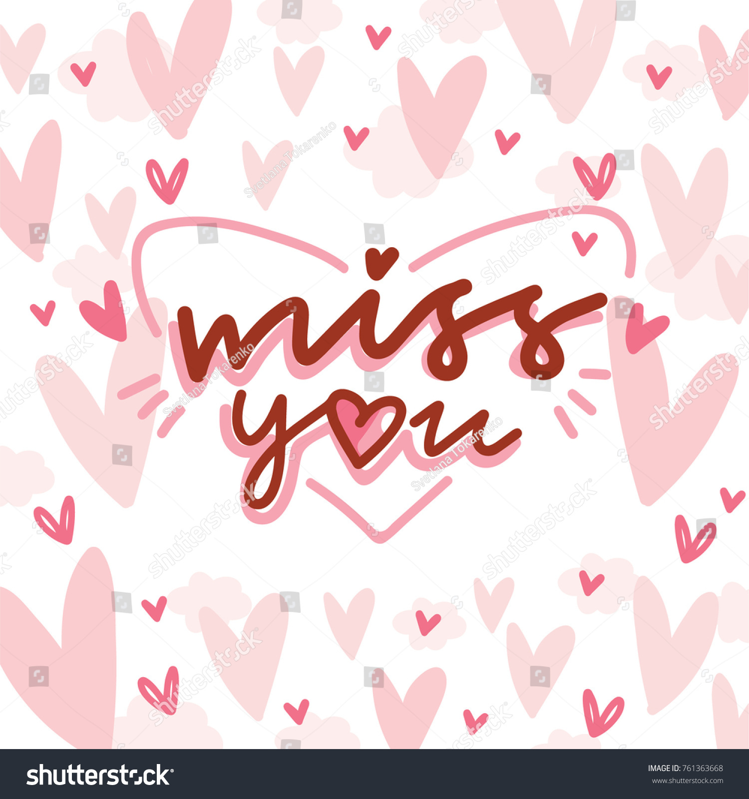 Love lettering calligraphy text doodles on stock vector hd royalty love lettering calligraphy text with doodles on romantic background with hearts miss you cute m4hsunfo