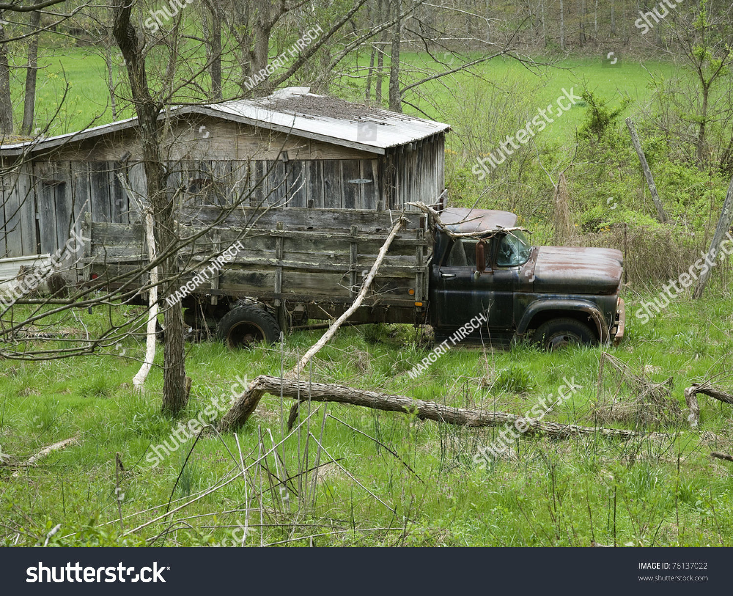 Old Farm Truck Wooden Wagon Abandoned Stock Photo 76137022