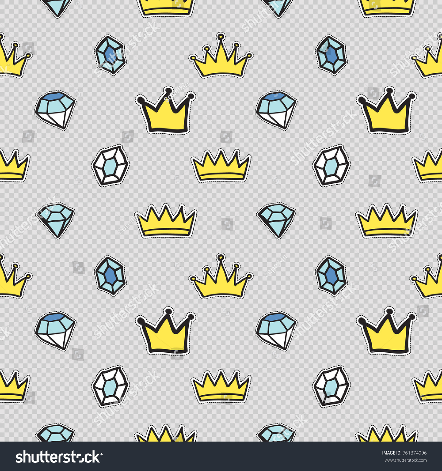 Vector Seamless Pattern King Crown Blue Stock Photo (Photo, Vector ...