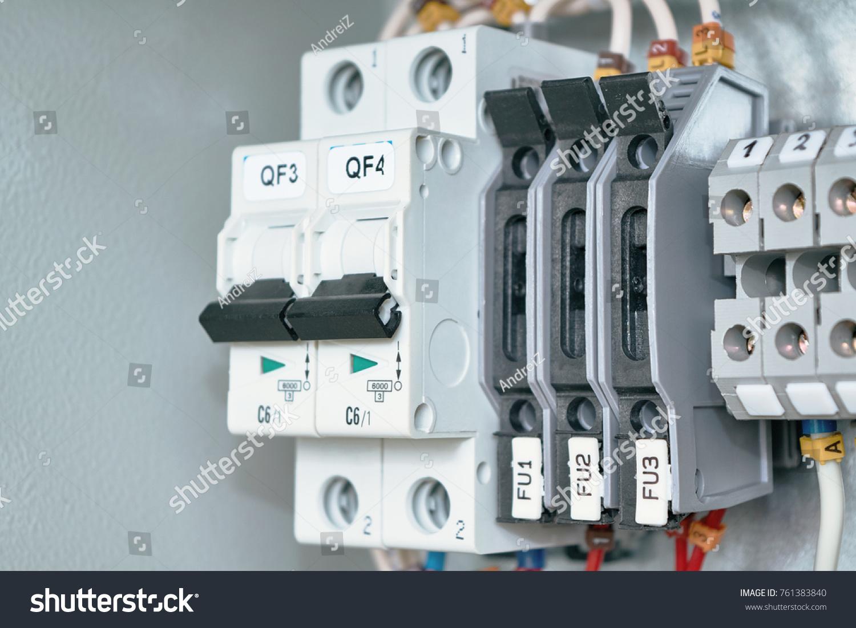 Electrical Cabinet Circuit Breakers Terminals Breakers Stock Photo ...