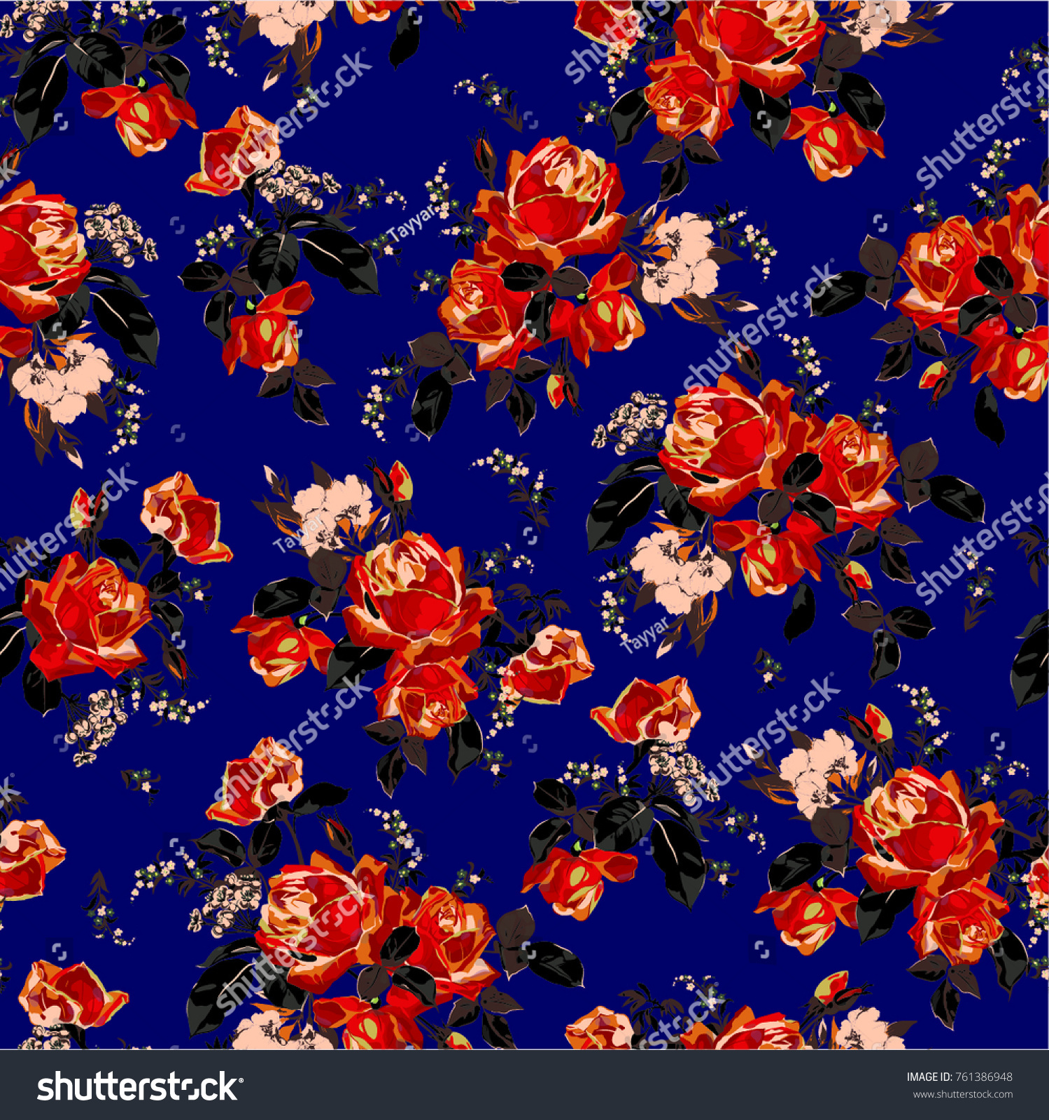 Vector Illustration Floral Pattern Water Colors Stock Vector ...