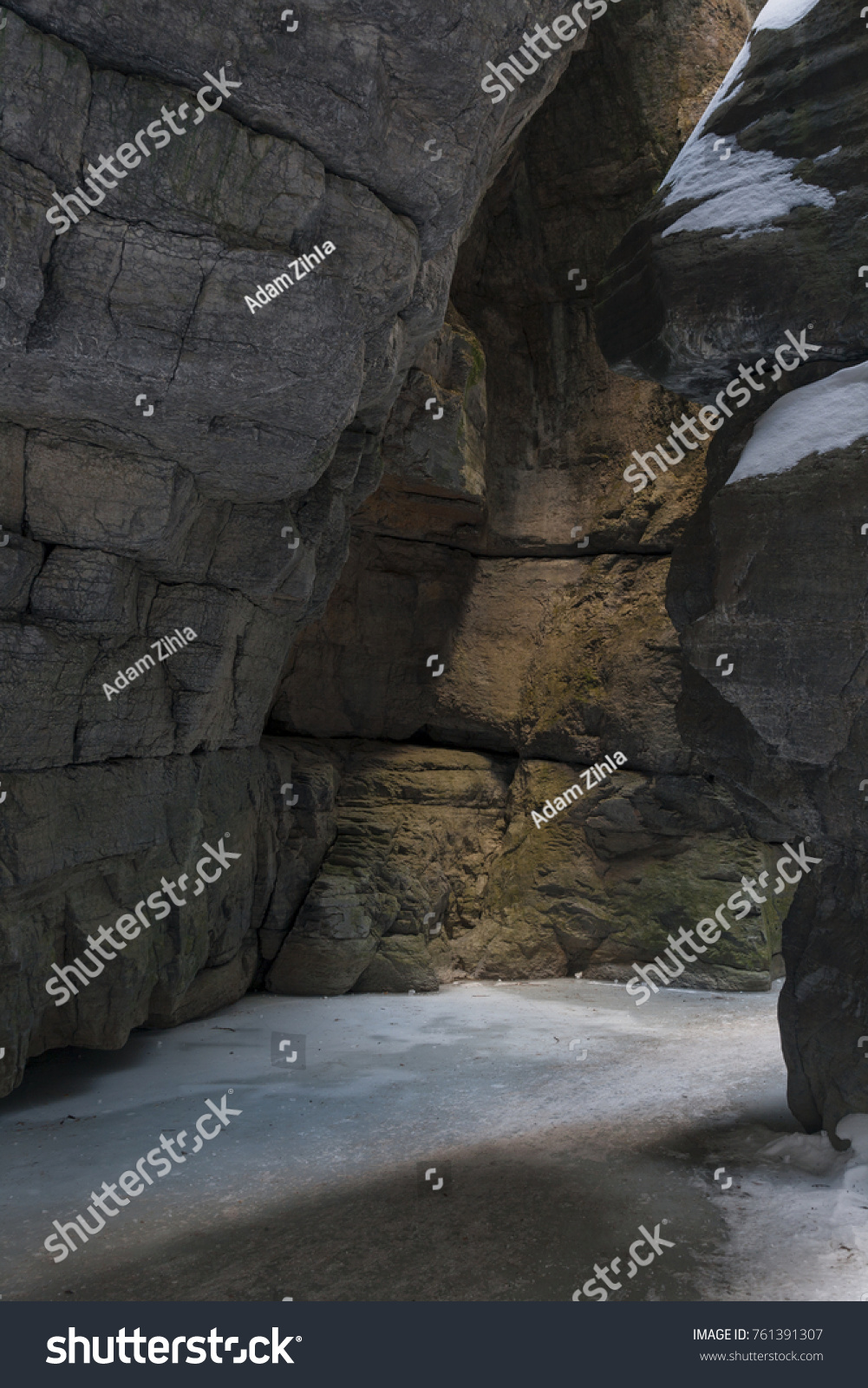 Winter Light Filtering Into Maligne Canyon Stock Photo (Royalty Free ...