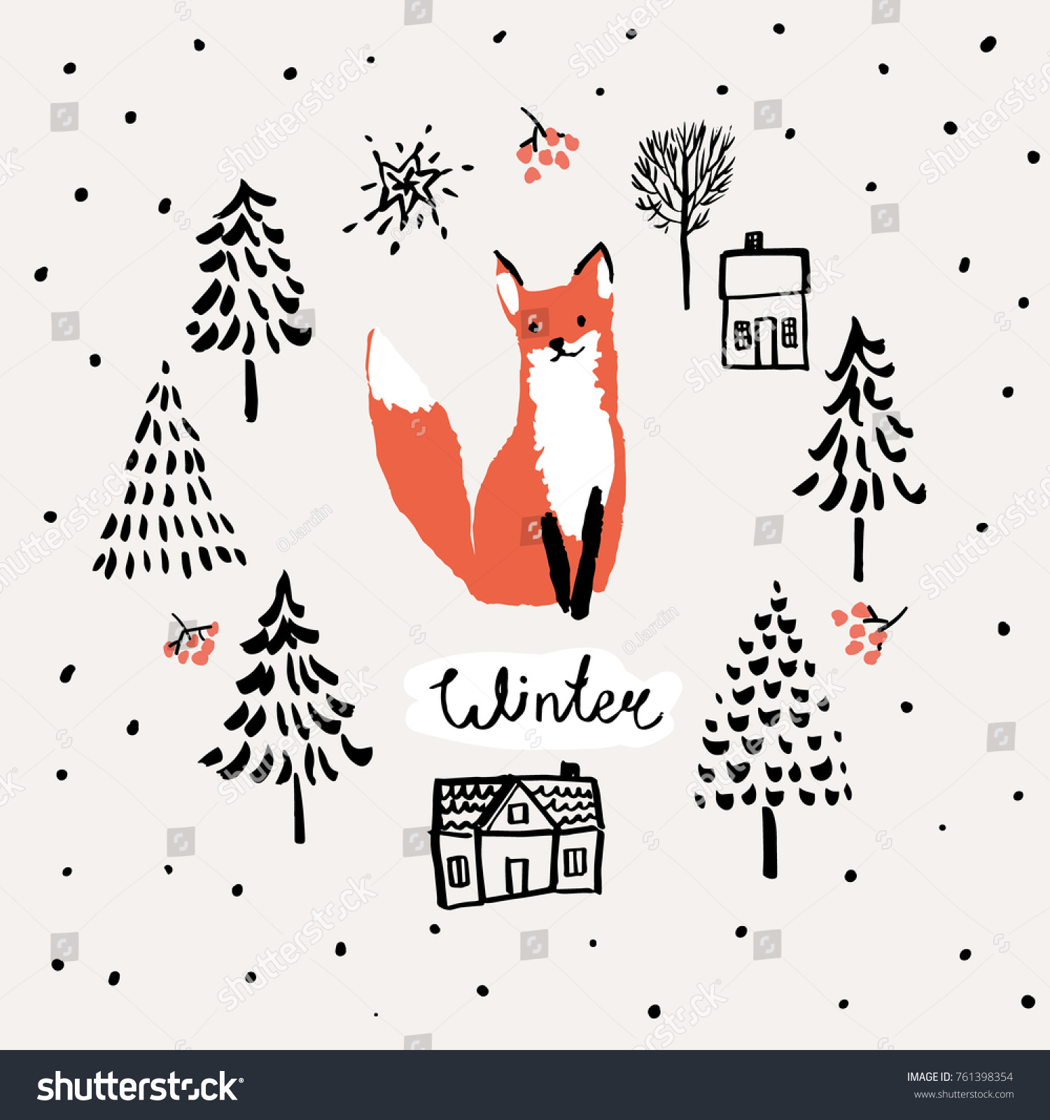 Xmas Greeting Card Template Winter Print Stock Vector Royalty Free