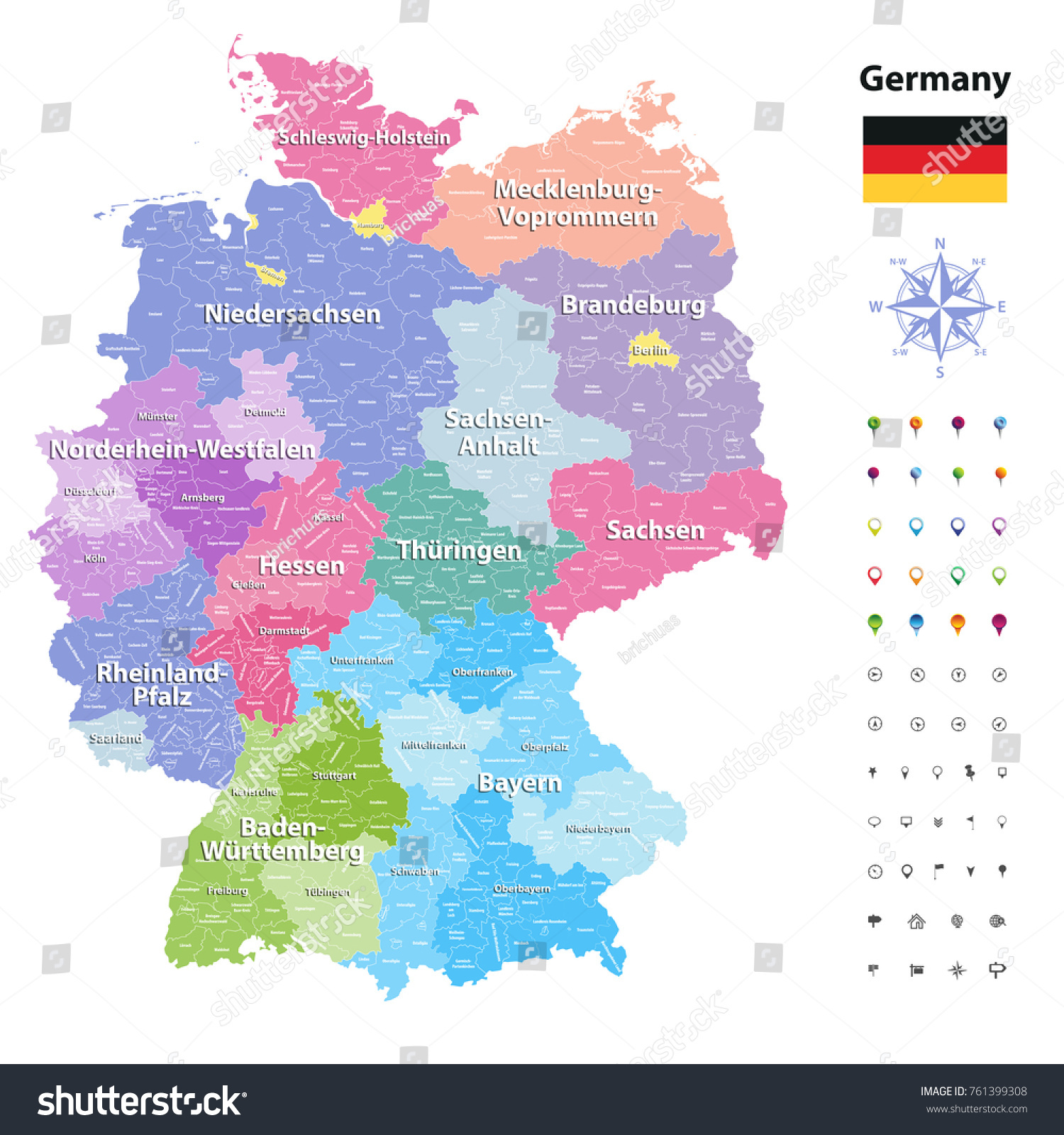 Map Of Germany With States.Germany Vector Map Colored By States Stock Vector Royalty Free