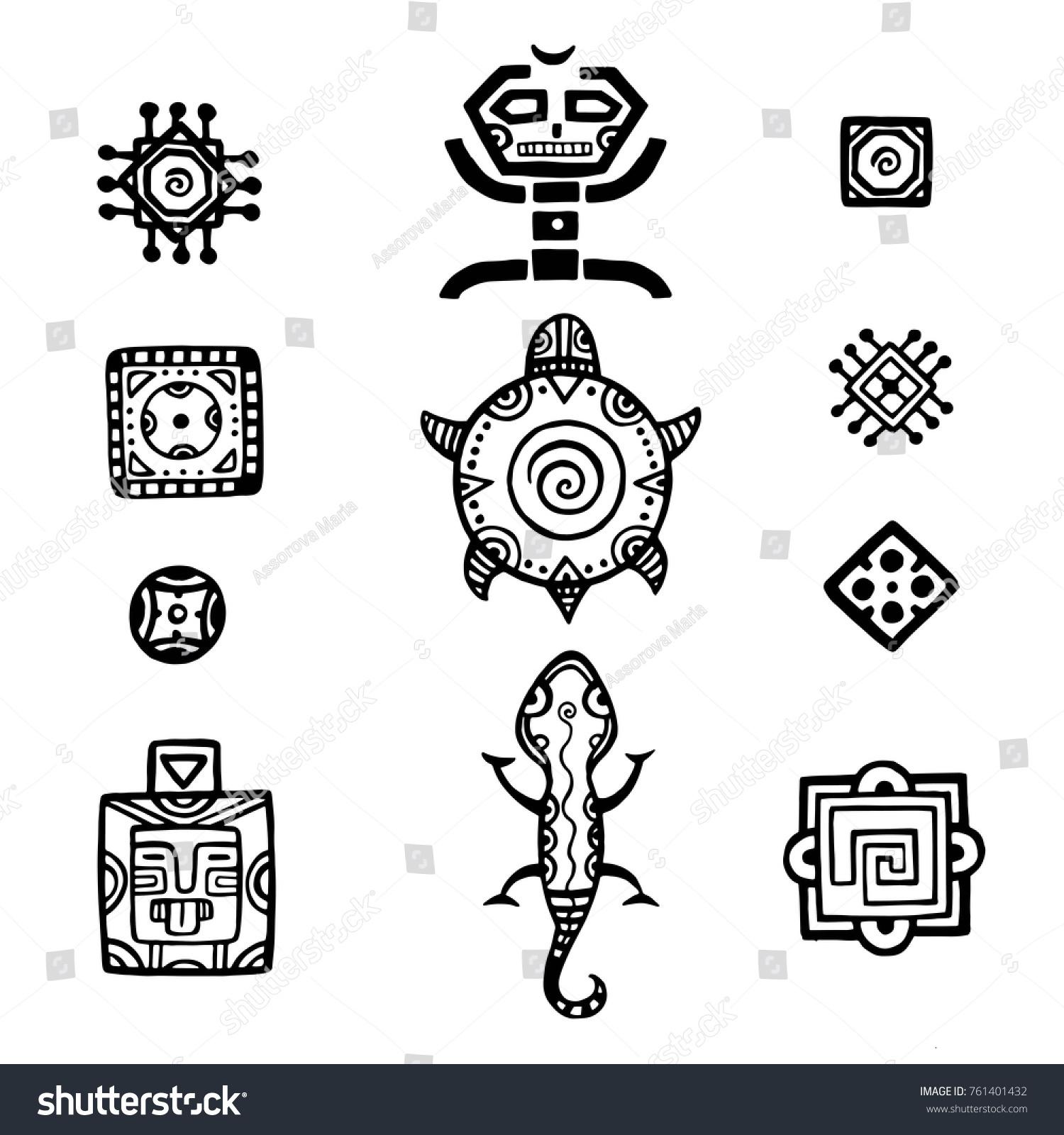 Ancient mexican vector mythology symbols american stock vector ancient mexican vector mythology symbols american aztec mayan culture native totem patterns aztec biocorpaavc Choice Image