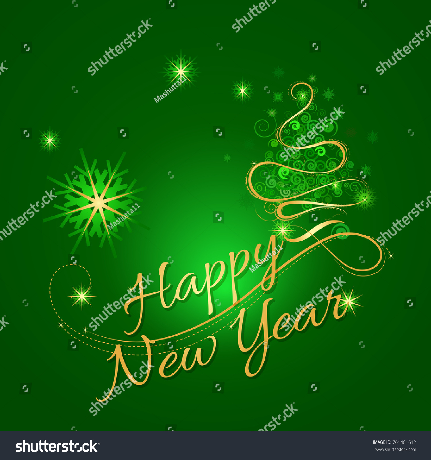 happy new year text design vector greeting illustration with decorative christmas tree calligraphic gold