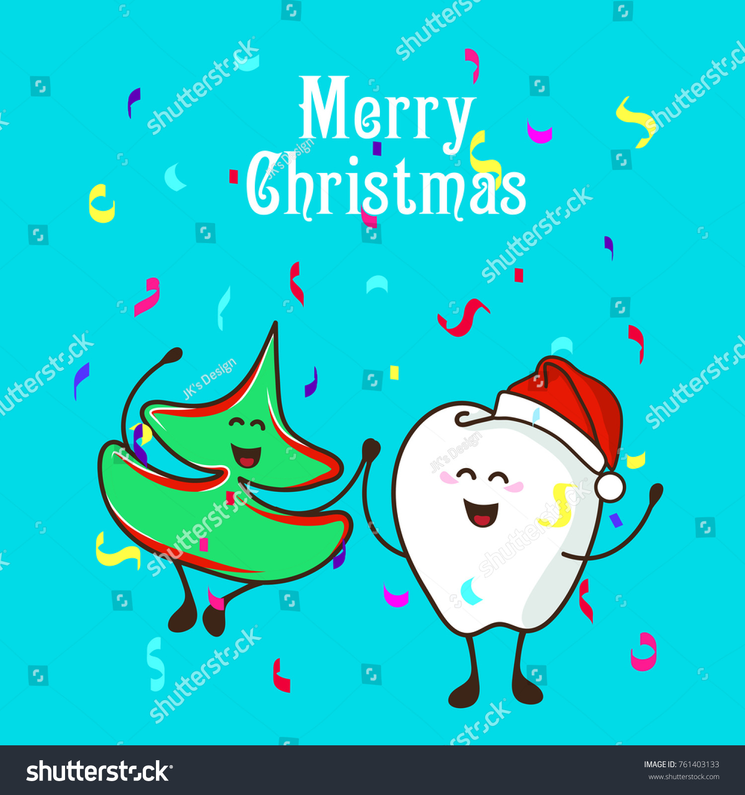 Fun Characters Christmas Tree Cute Tooth Stock Vector (Royalty Free ...