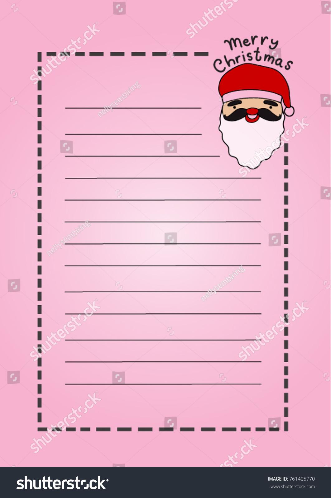 Printable Letter Pad Christmas Stationery Santa Stock Vector ...