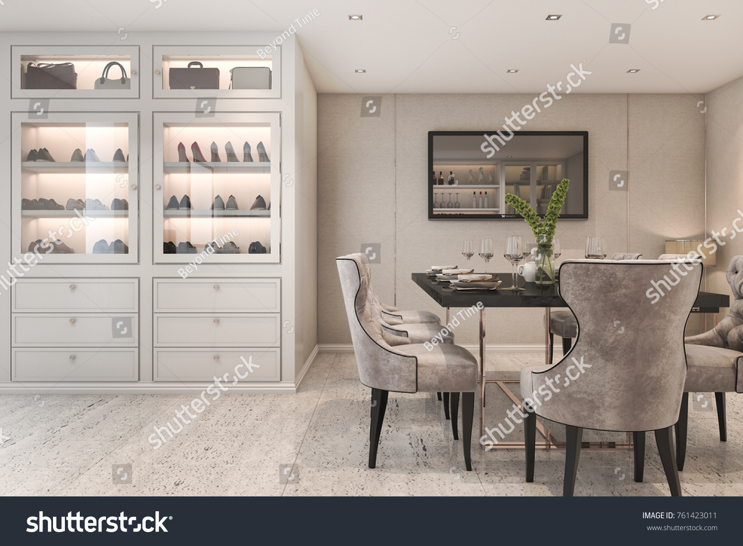 3d Rendering Modern Luxury Dining Room With Bag And Shoe Cabinet