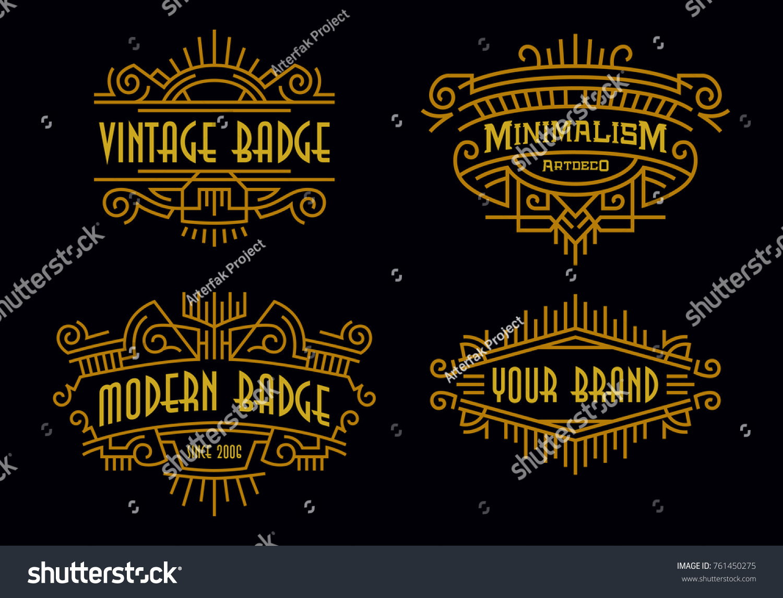 Art Deco Badges Modern Minimalism Line Stock Vector Royalty Free