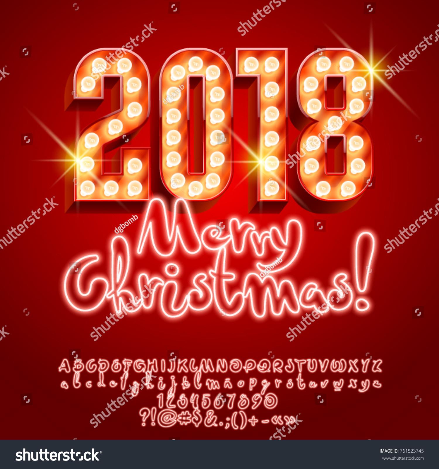 Vector Light Merry Christmas 2018 Greeting Stock Vector Royalty