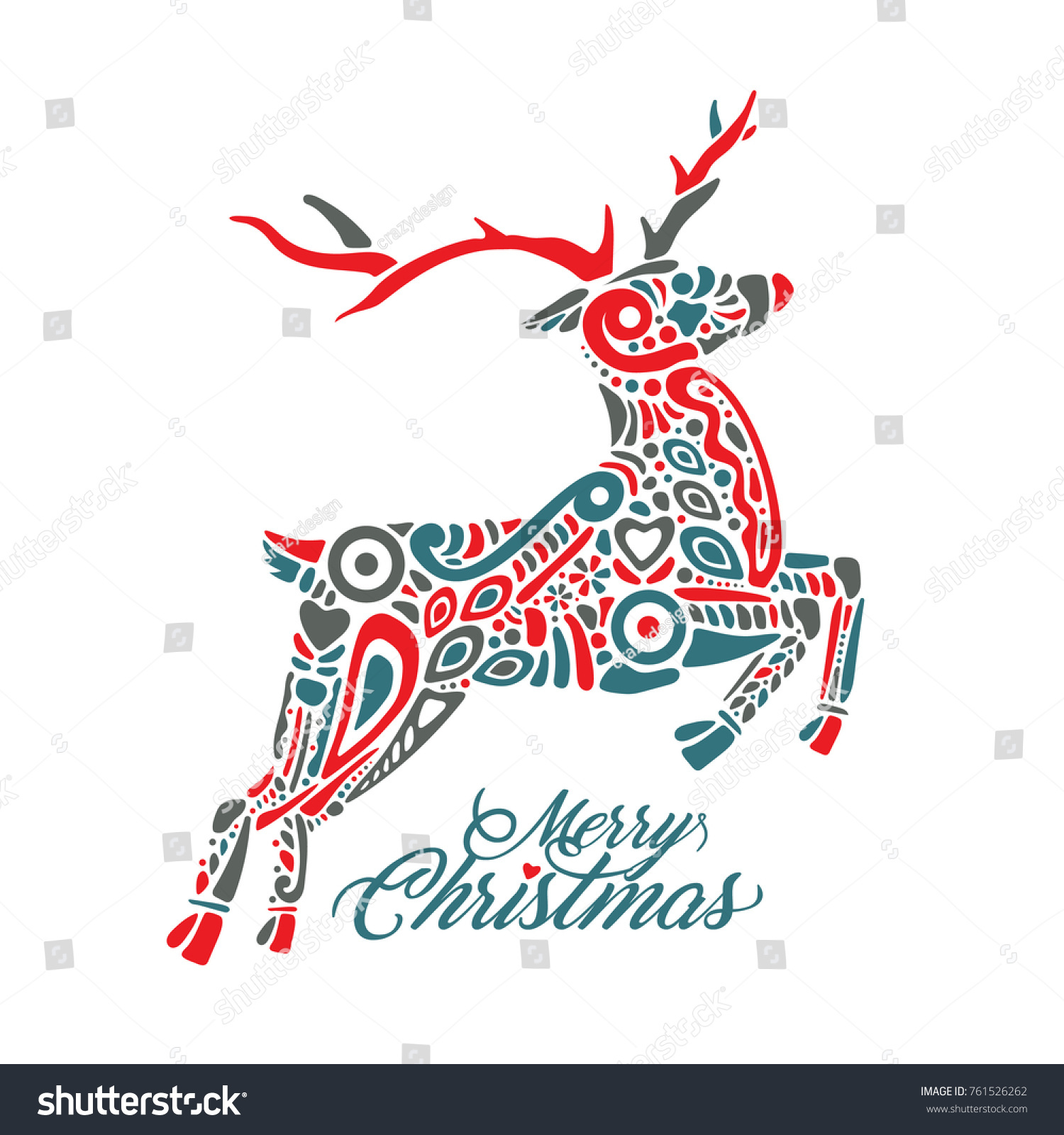 Silhouette Jumping Forest Northern Deer Isolated Stock Vector HD