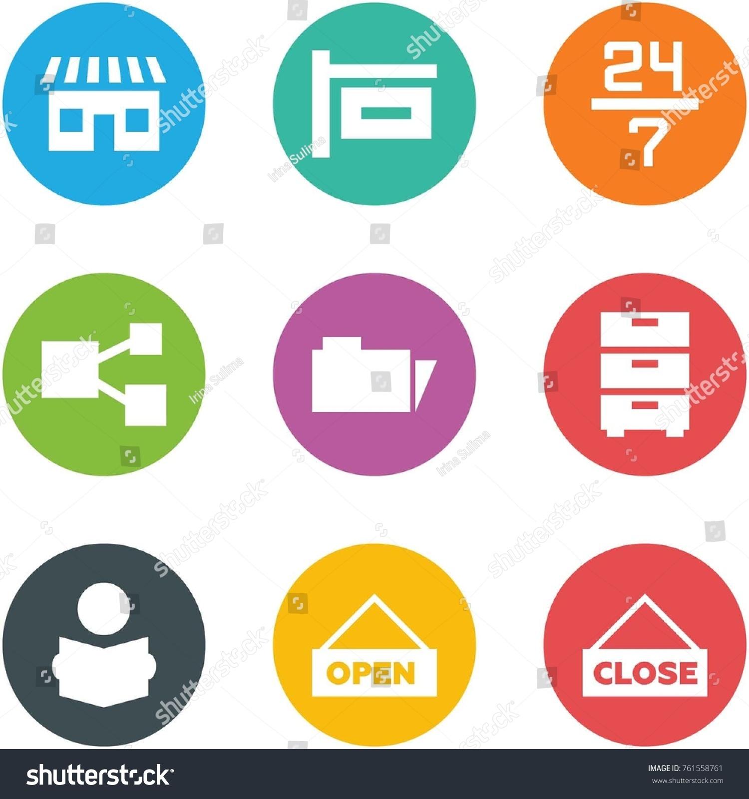 Origami corner style icon set shop stock vector 761558761 origami corner style icon set shop sign 24 7 share folder jeuxipadfo Gallery