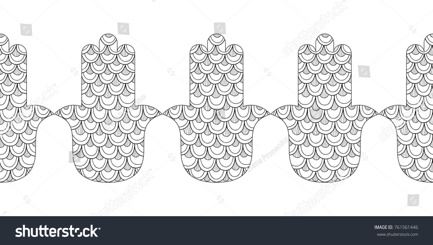 stock vector hamsa hand black and white illustration for coloring page decorative amulet for good luck and