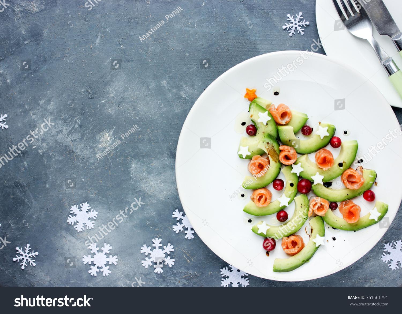 Christmas Tree Appetizer Avocado Salmon Salad Stock Photo Edit Now