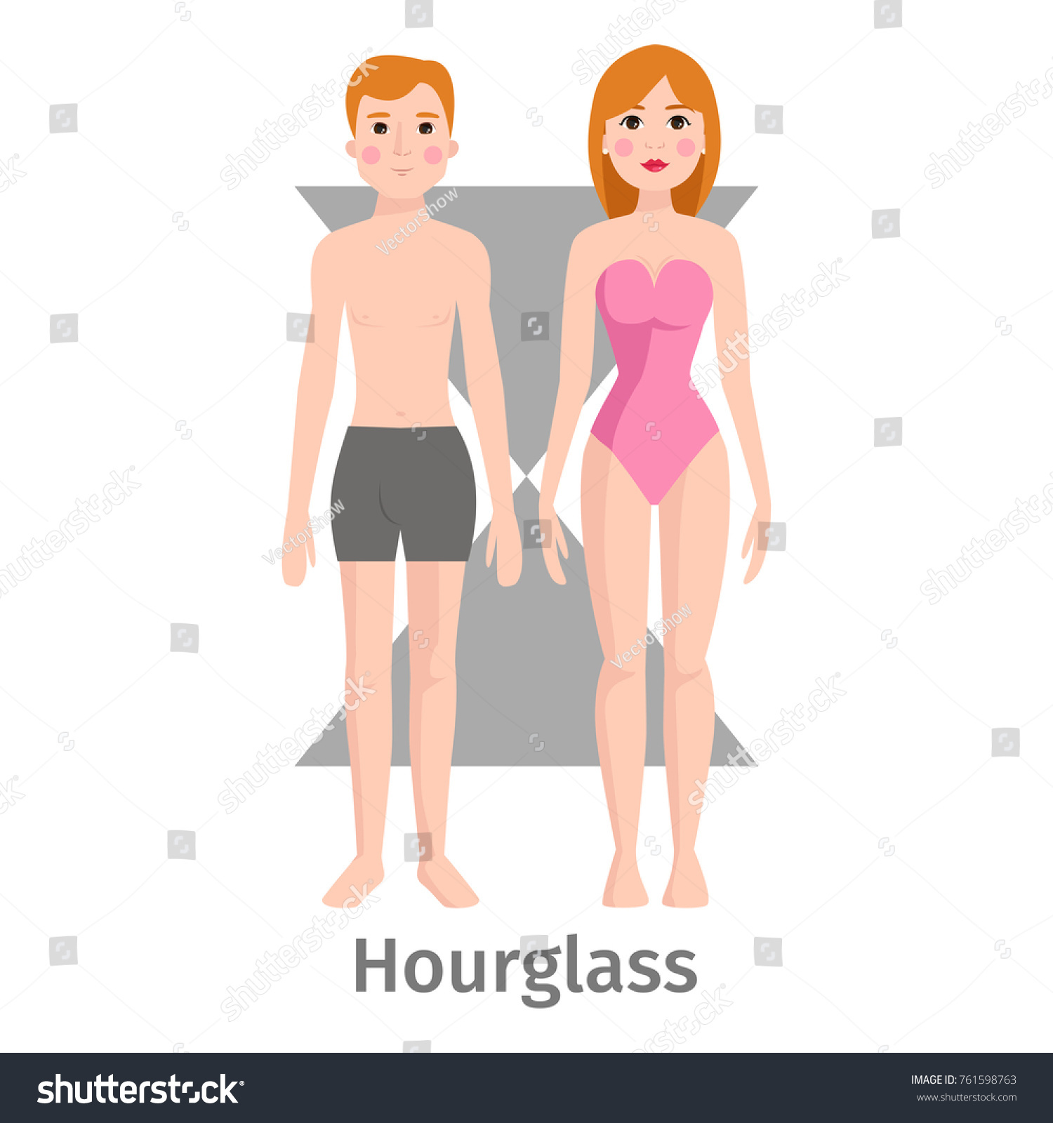 Vector Illustration Hourglass Body Shape Types Stock Vector Royalty Free 761598763
