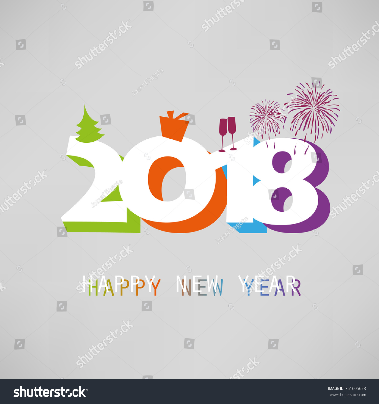 Best Wishes Simple Colorful New Year Stock Vector Royalty Free