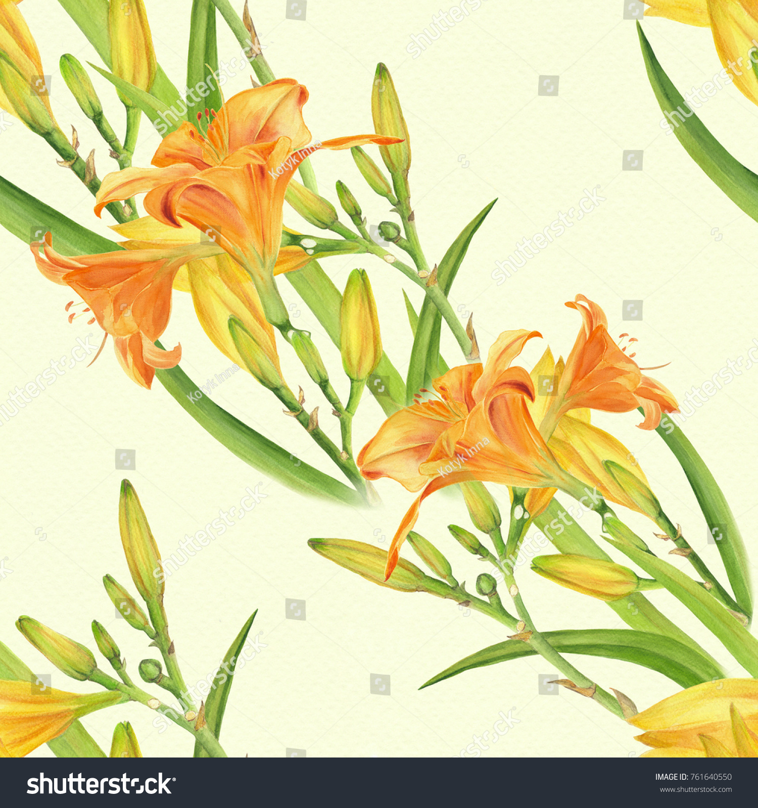 Flowers buds leaves yellow lily watercolor stock illustration flowers buds and leaves of a yellow lily watercolor floral motifs seamless izmirmasajfo