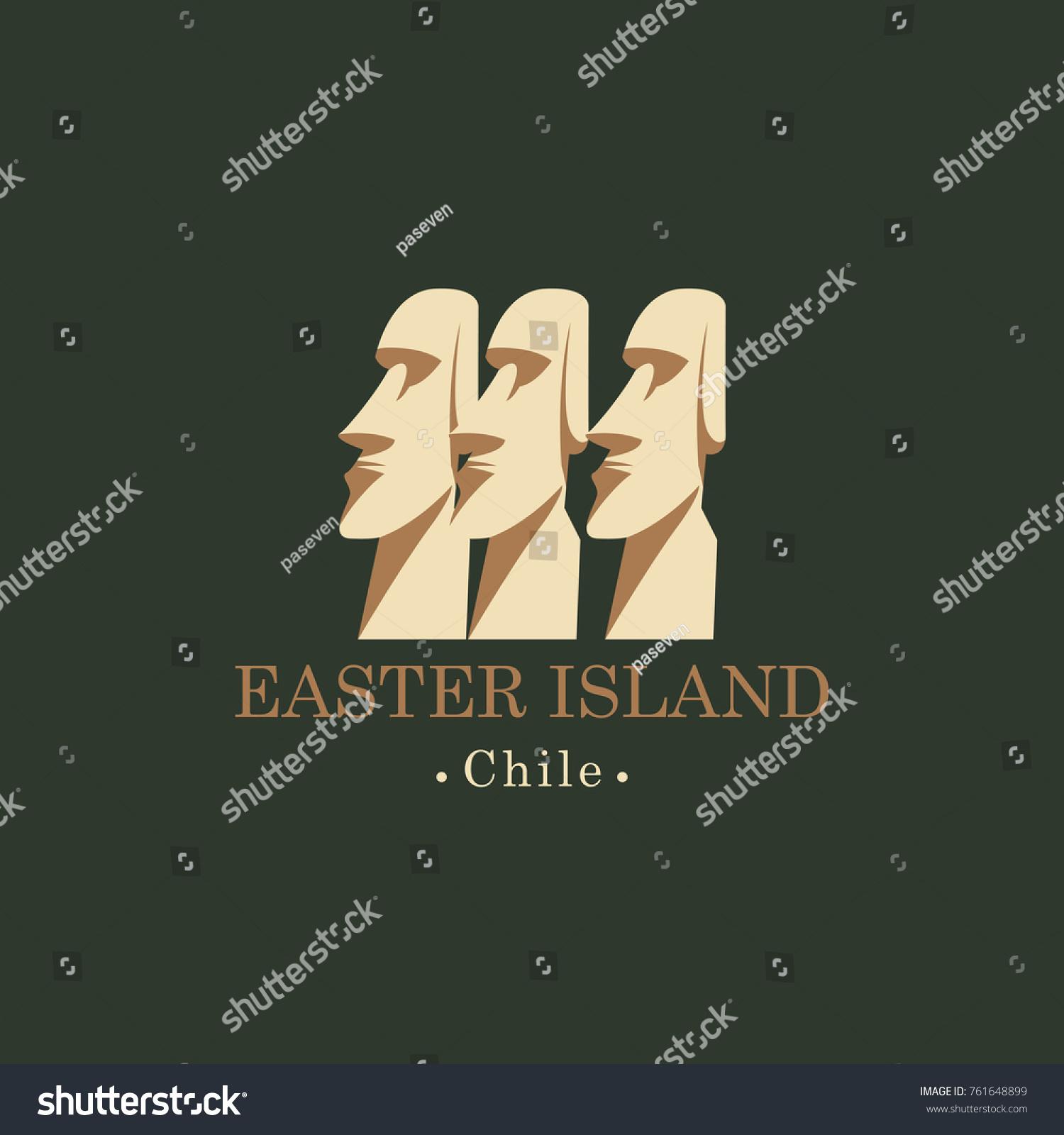 Vector Travel Illustration Banner Logo Moai Stock Photo (Photo ...