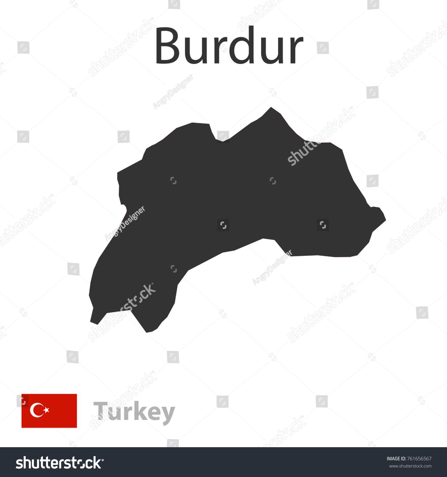 Map Burdur Flag Turkey Vector Illustration Stock Vector 761656567