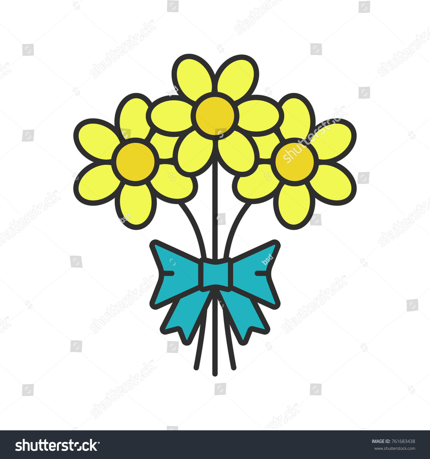 Bunch Of Flowers Color Icon Holiday Bouquet Isolated Raster Illustration