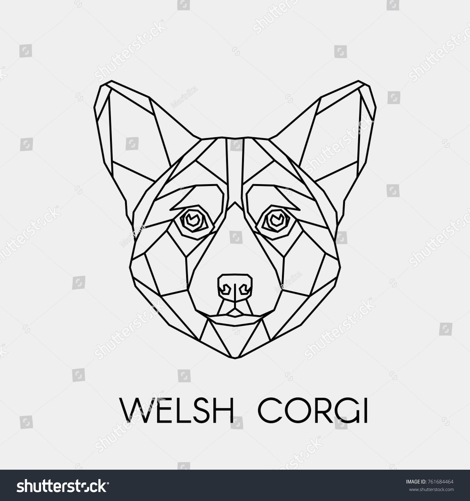 Abstract polygon vector dog geometric linear stock vector geometric linear isolated head welsh corgi buycottarizona