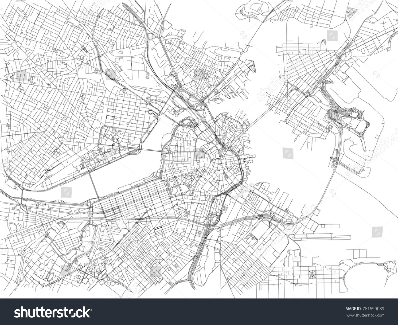 Kadut Boston Kaupungin Kartta Massachusetts Yhdysvallat