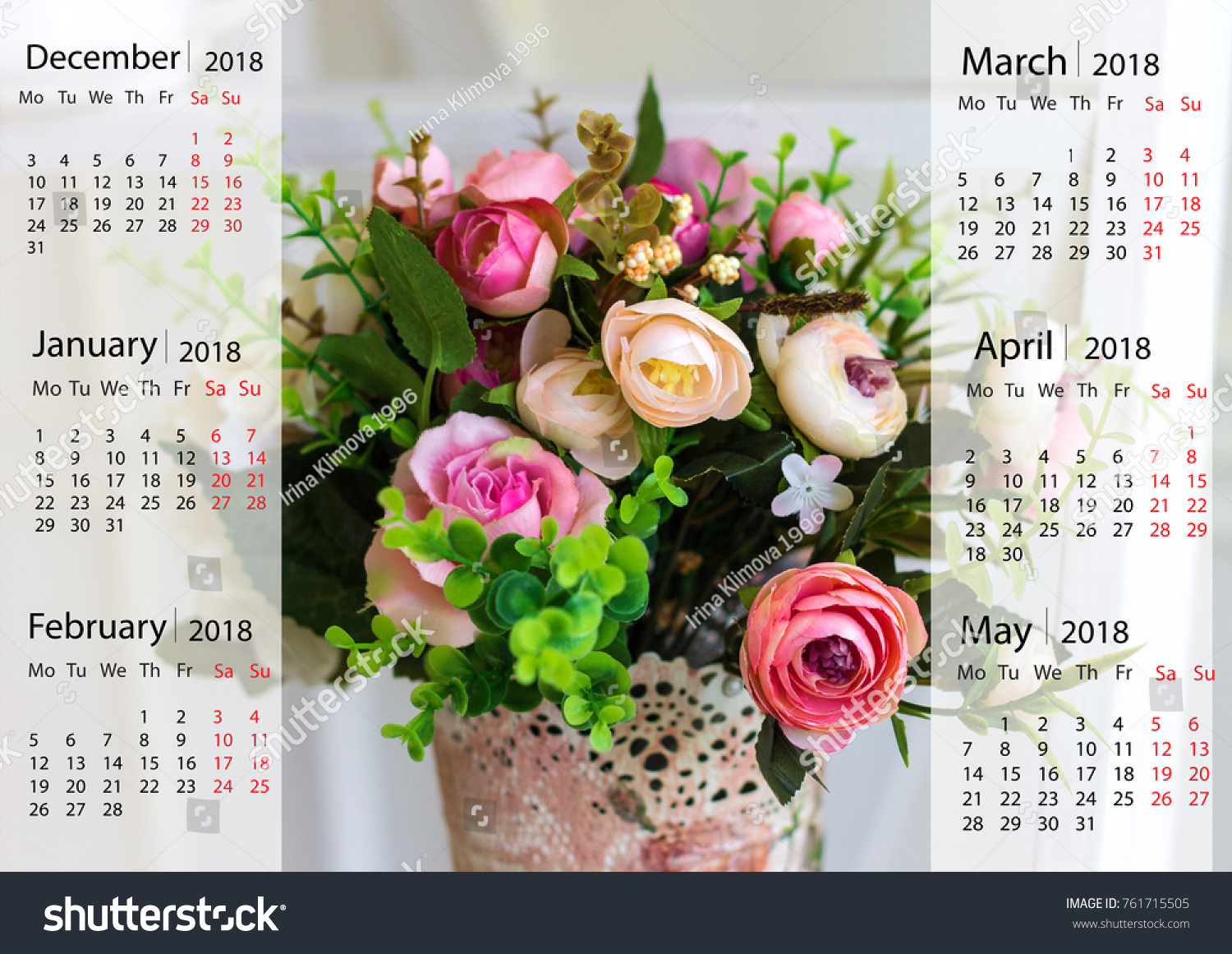 Wall Calendar Beautiful Flowers Vase 2018 Stock Photo Edit Now