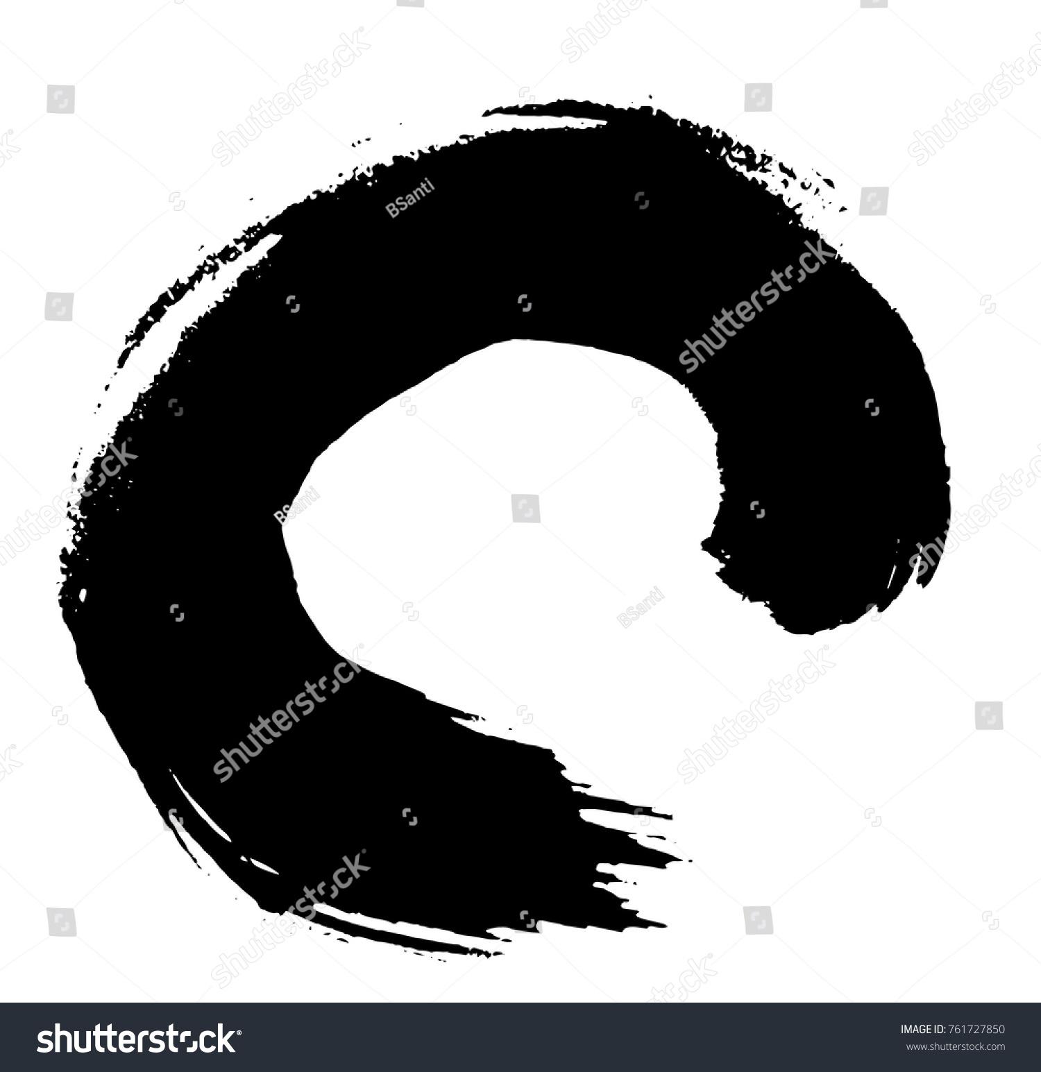 Hand Painted Zen Circle Oriental Art Thecnic As Universe Symbol