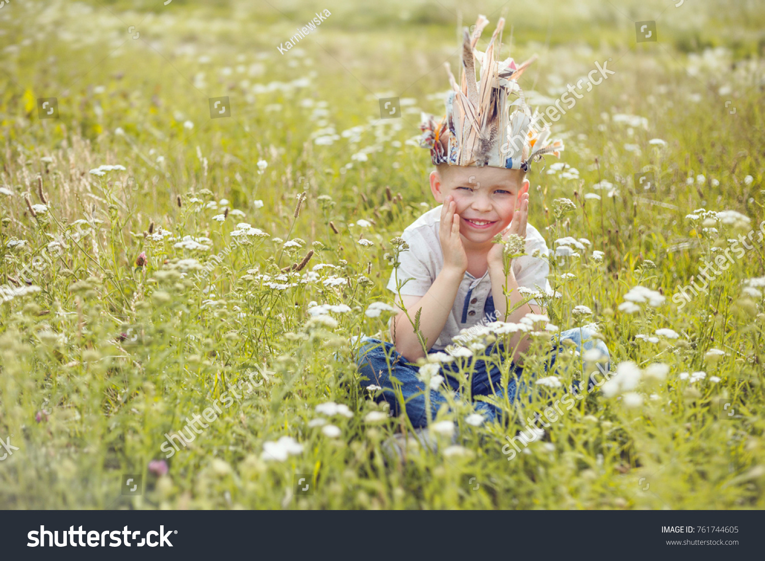 6 Yearold Boy Playing Field White Flowers Stock Photo Edit Now