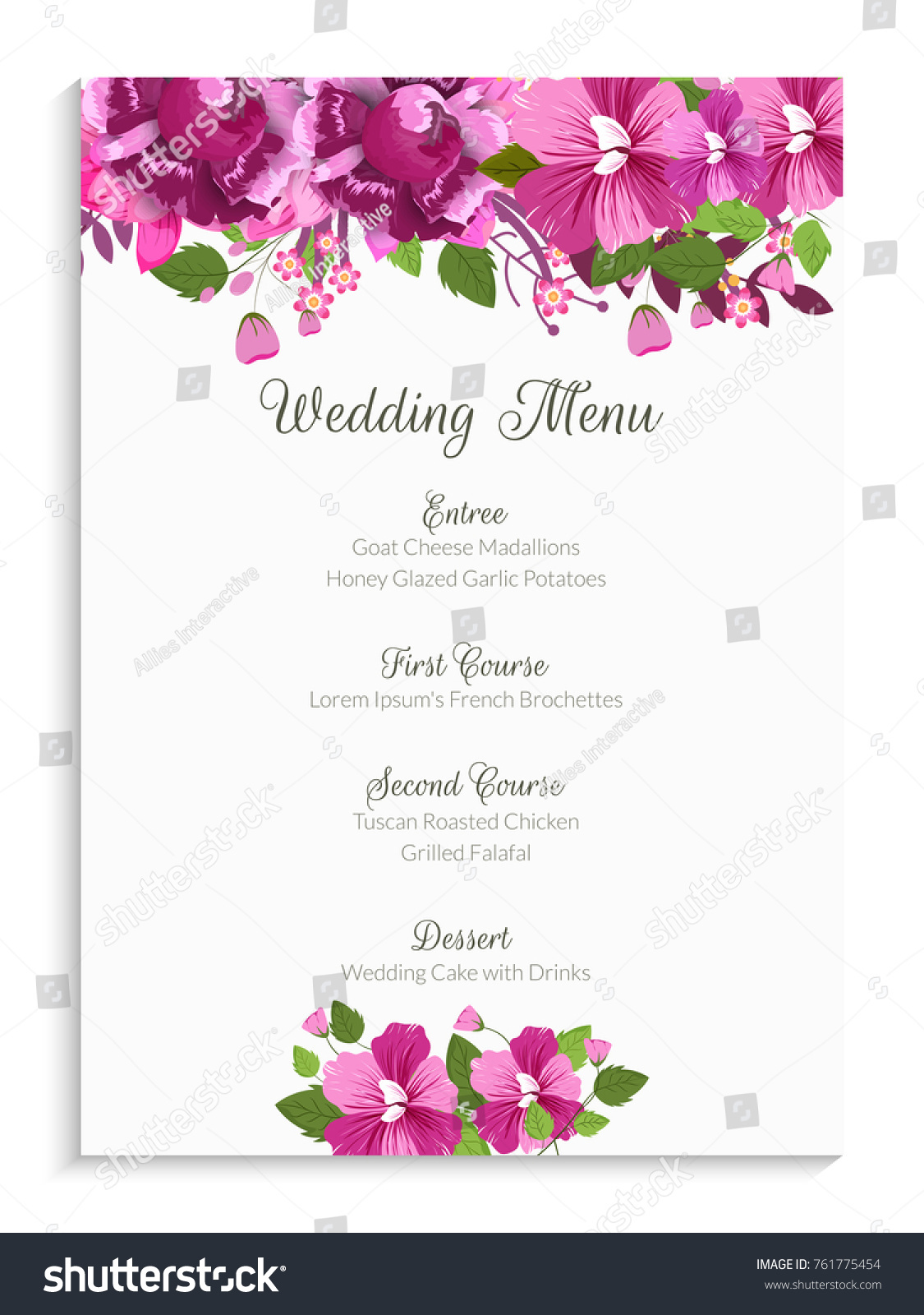 Wedding menu card design decorated pink stock vector royalty free wedding menu card design decorated with pink flowers mightylinksfo