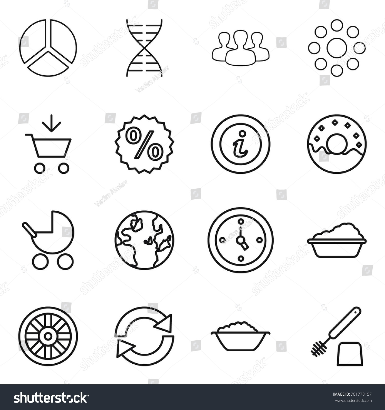 Thin line icon set diagram dna stock vector 761778157 shutterstock thin line icon set diagram dna group round around add to ccuart Choice Image