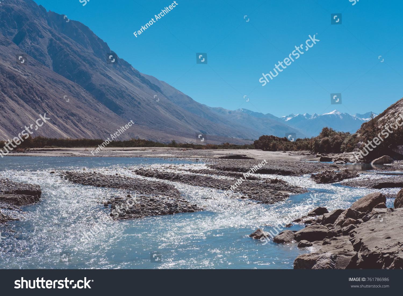 Landscape Image Blue Shyok River On Stock Photo (Royalty Free ...