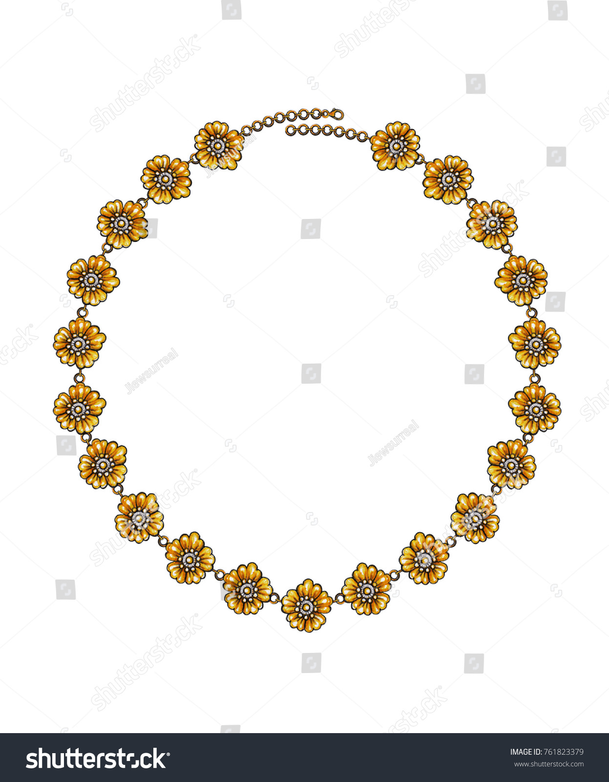 Jewelry Design Flower Gold Necklacehand Drawing Stock Illustration ...