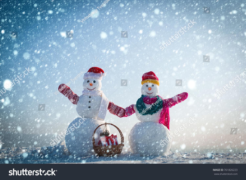 Christmas new year snow concept snowman stock photo
